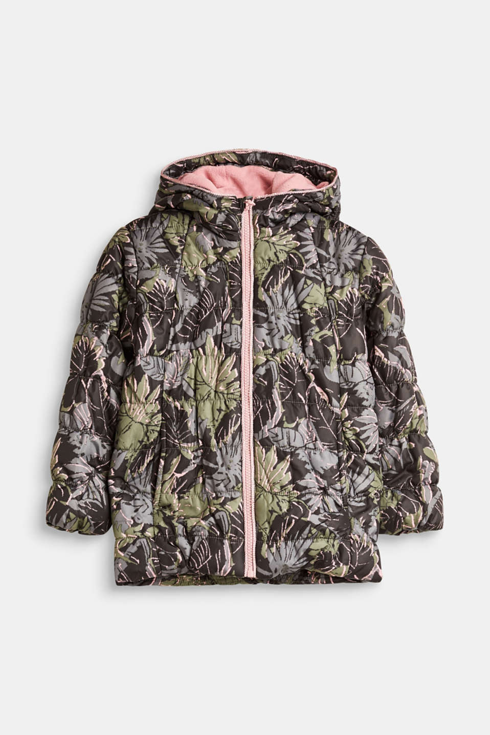 Esprit - Quilted jacket with print and hood