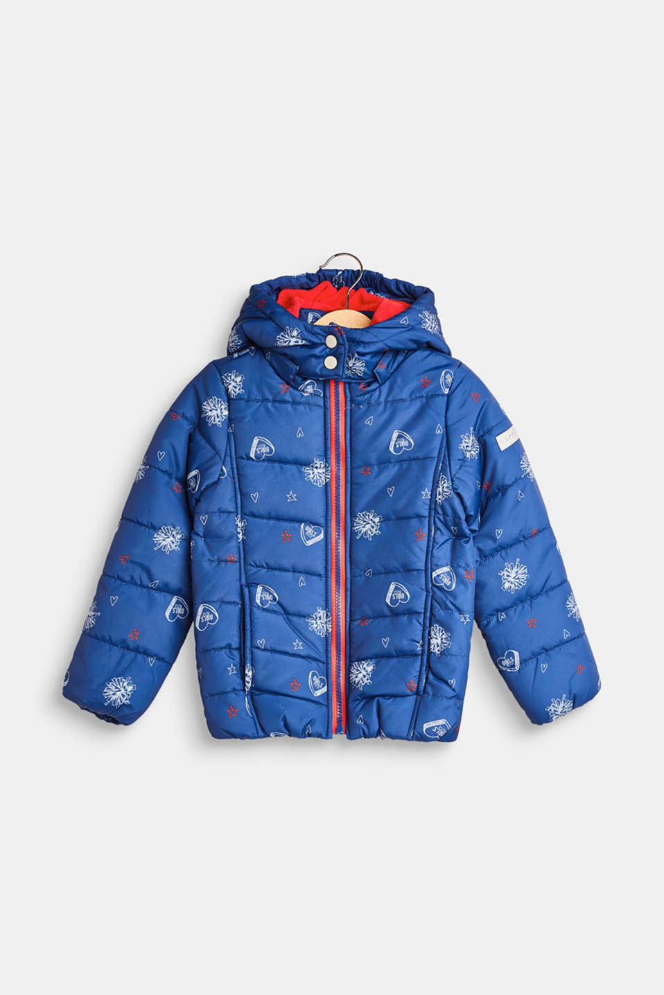 Esprit - Quilted jacket with a print and an adjustable hood