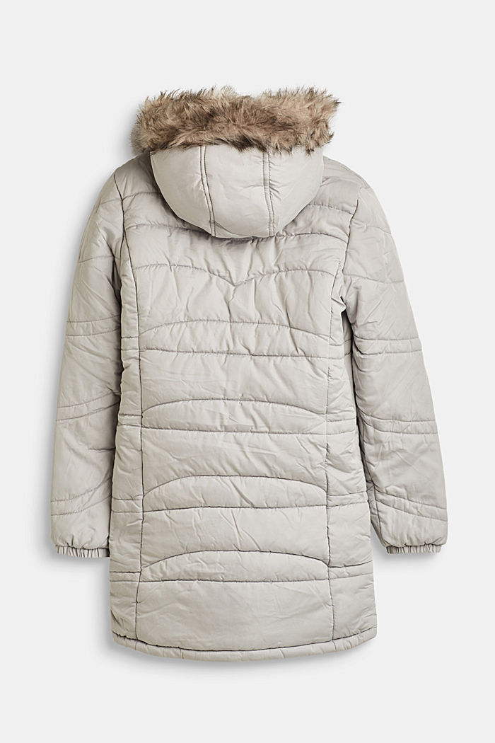 Quilted jacket with a hood and a woven fur trim, LIGHT GREY, detail image number 1