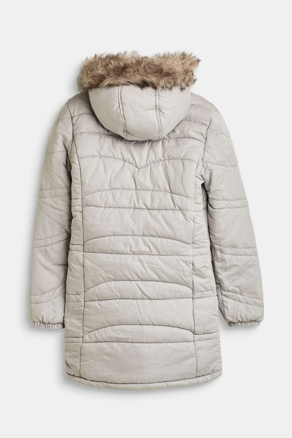 Quilted jacket with a hood and a woven fur trim, LCLIGHT GREY, detail image number 1