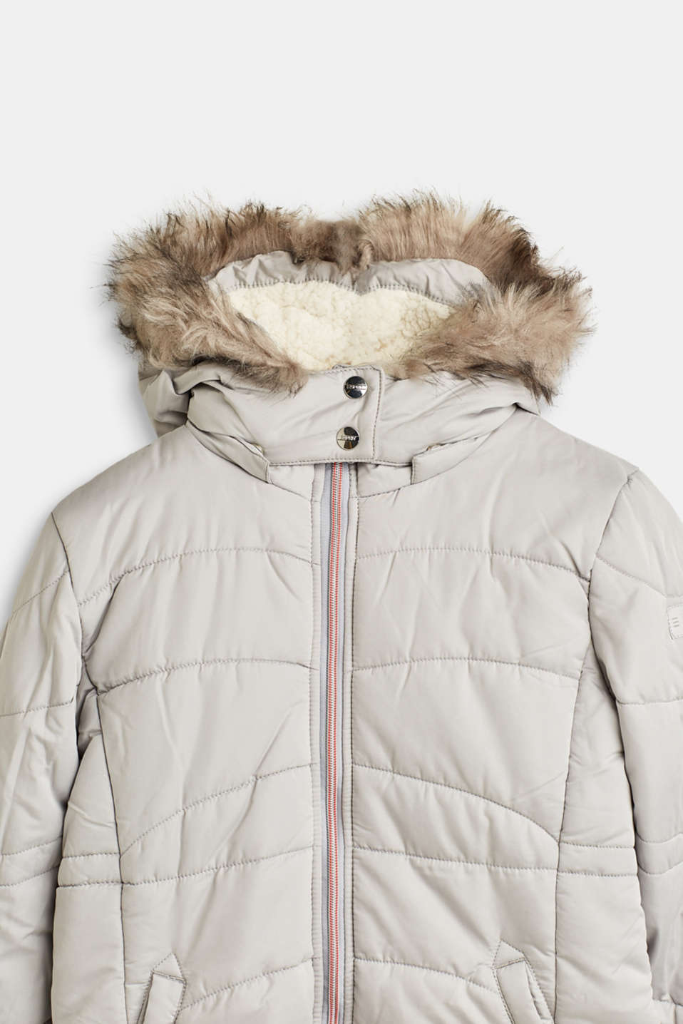 Quilted jacket with a hood and a woven fur trim, LCLIGHT GREY, detail image number 2