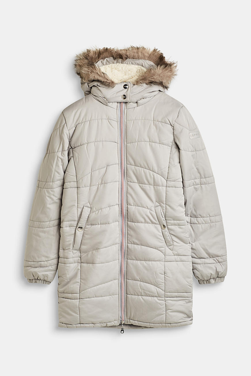 Quilted jacket with a hood and a woven fur trim