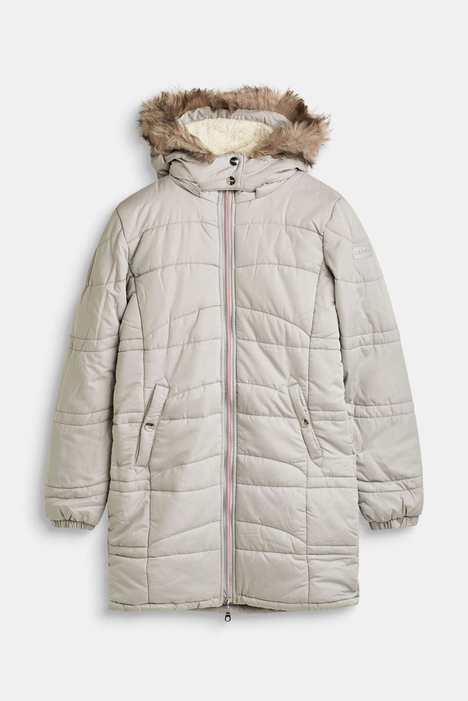 Quilted jacket with a hood and a woven fur trim, LCLIGHT GREY, detail image number 0