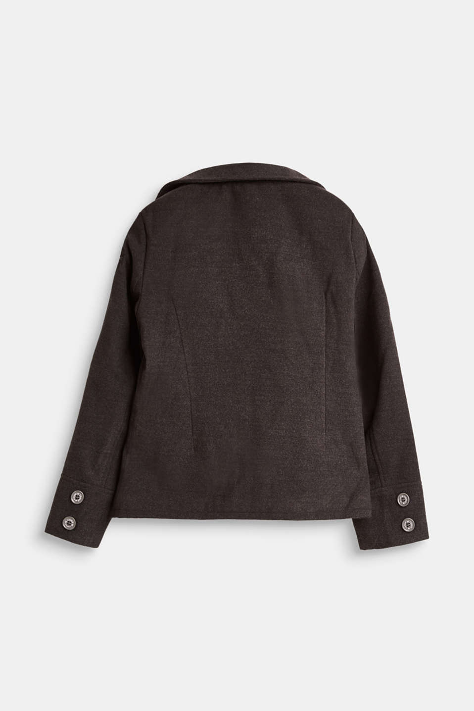 Pea coat with plush lining, LCHEATHER ANTHRA, detail image number 1