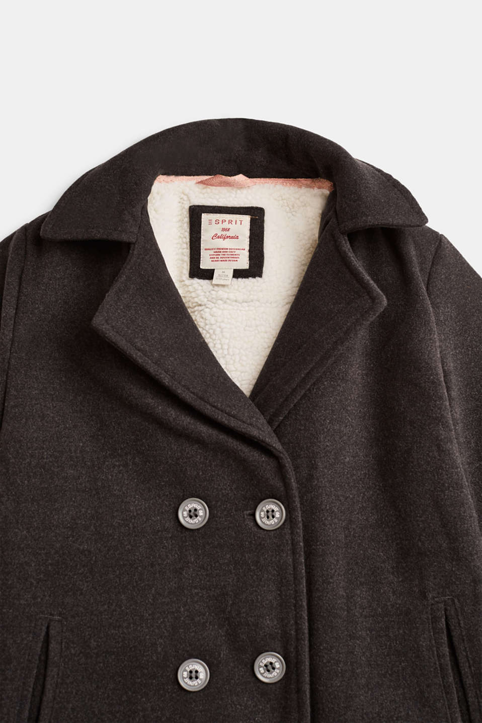 Pea coat with plush lining, LCHEATHER ANTHRA, detail image number 2