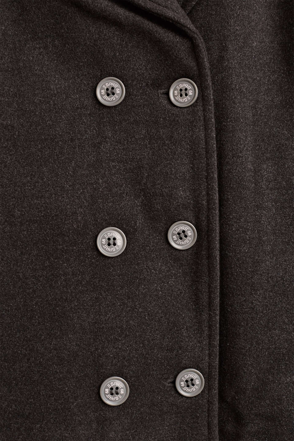 Pea coat with plush lining, LCHEATHER ANTHRA, detail image number 3