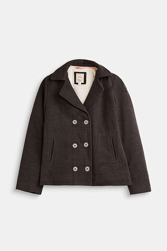 Pea coat with plush lining
