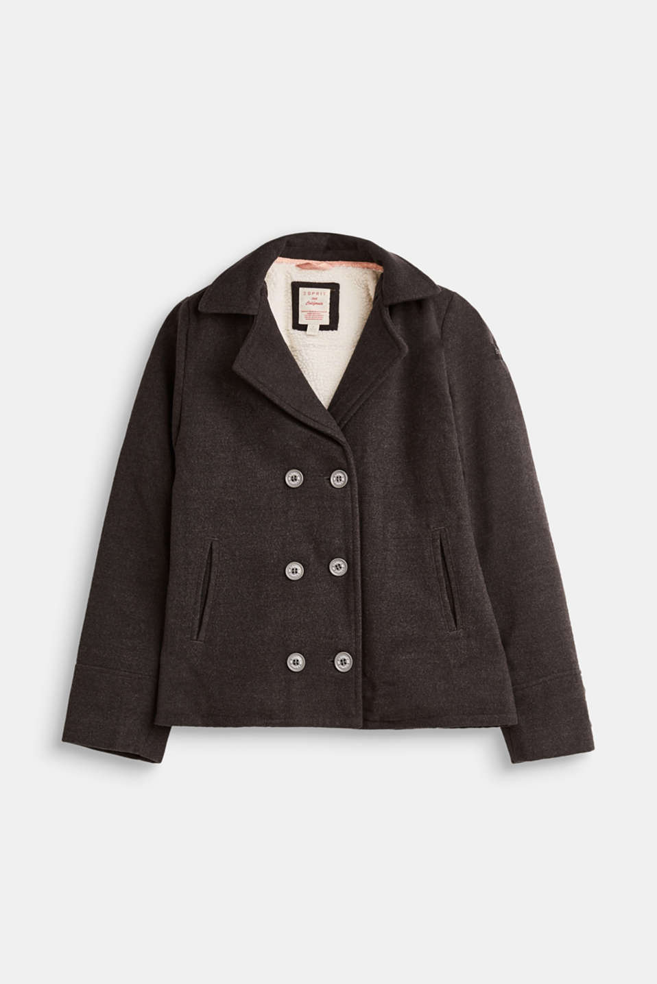 Pea coat with plush lining, LCHEATHER ANTHRA, detail image number 0