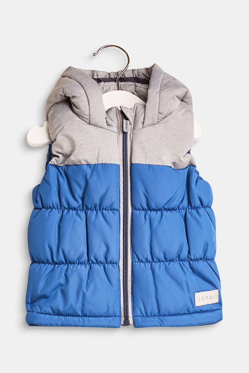 Esprit - Quilted body warmer with colour blocking and a hood