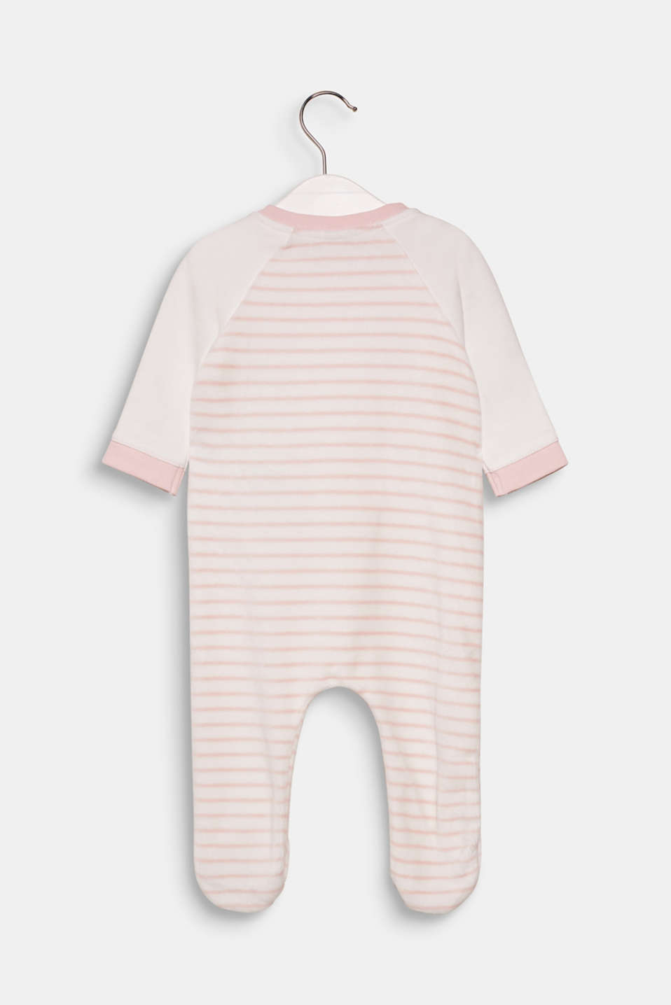 Velvety velour romper suit with organic cotton