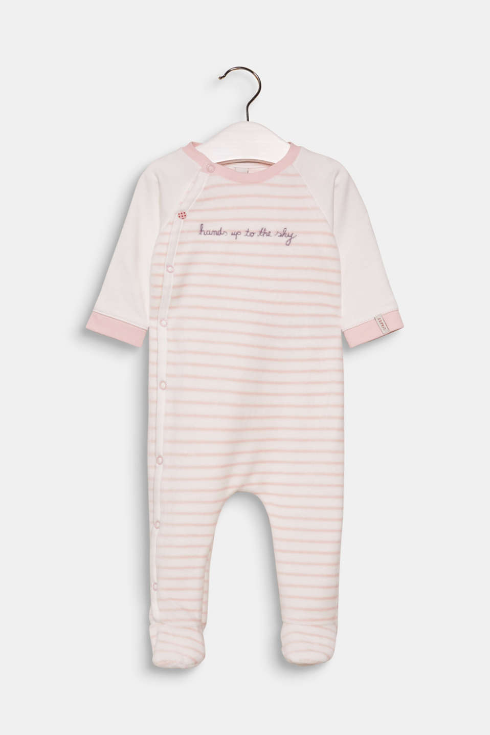 Esprit - Velvety velour romper suit with organic cotton