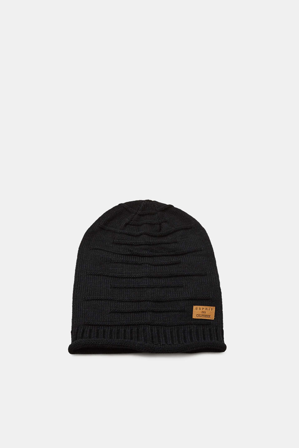 Esprit - Knit beanie with textured stripes