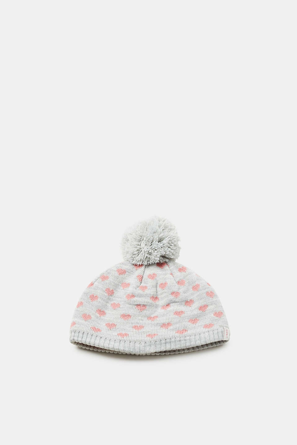 Esprit - Knitted hat with heart pattern and pompom