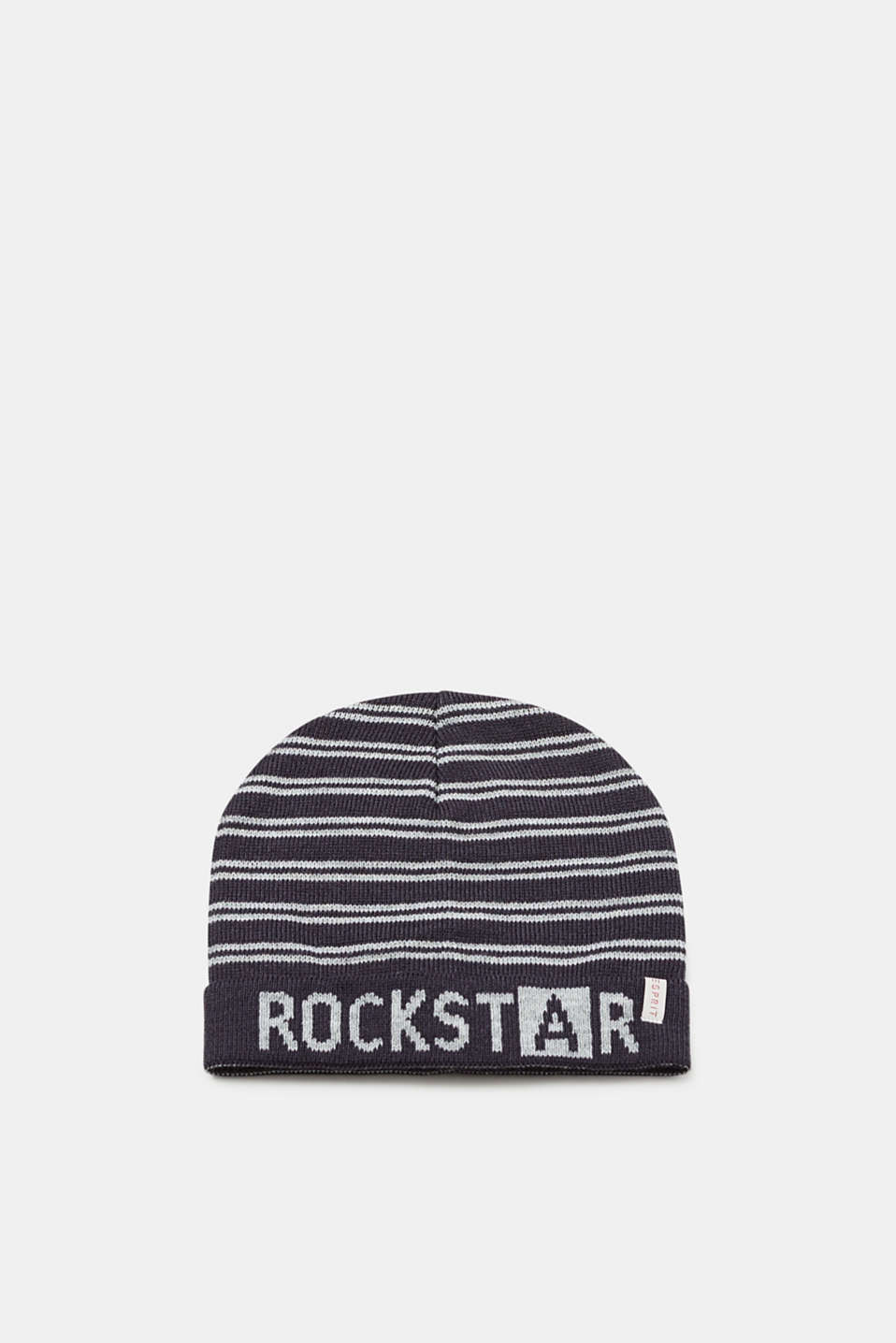 Esprit - Knit beanie with stripes and a statement