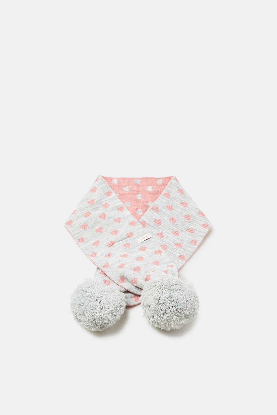 Esprit - Knit scarf with a heart pattern and pompoms