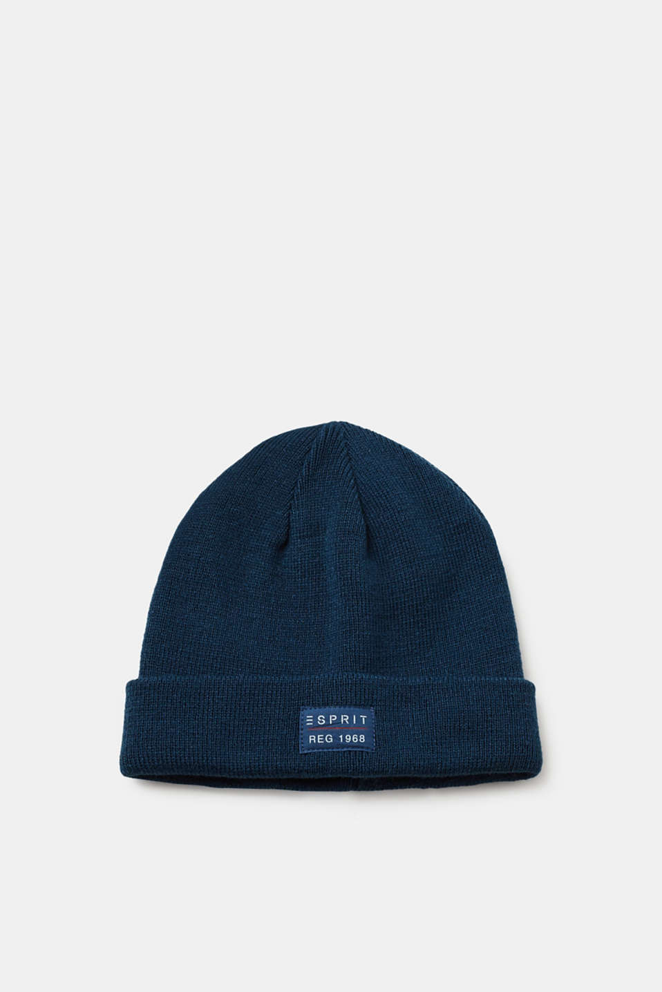 Esprit - Knitted hat with a turn-back cuff and a logo appliqué