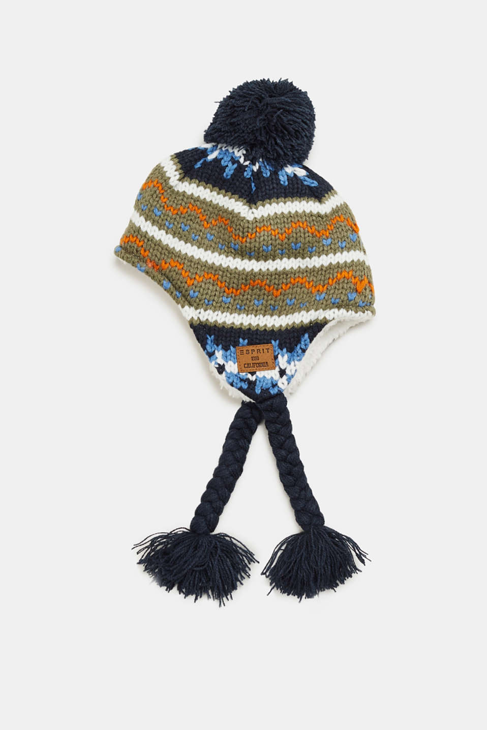 Esprit - Knitted hat with a pompom and plush lining