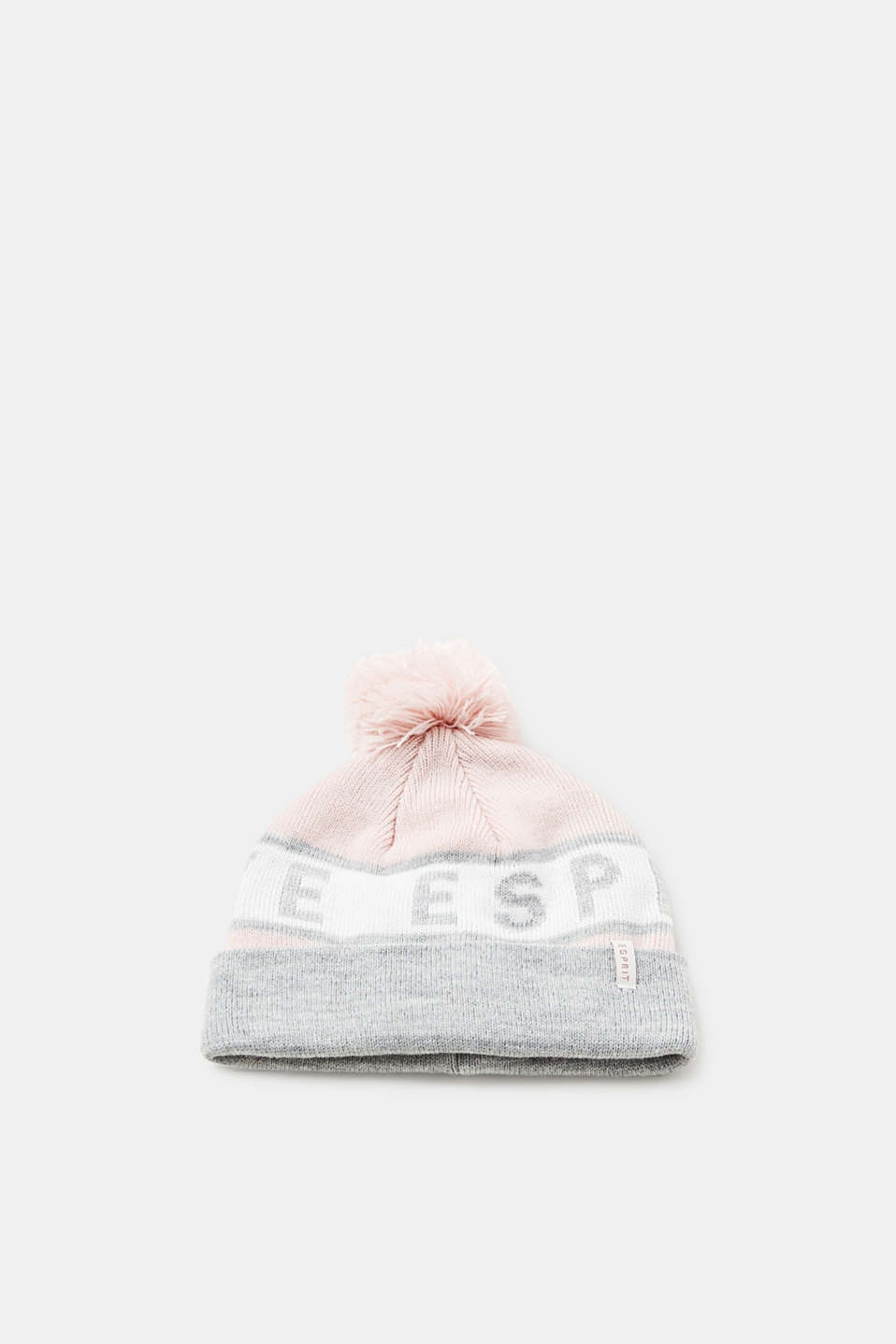 Esprit - Knitted hat with glitter logo and pompom