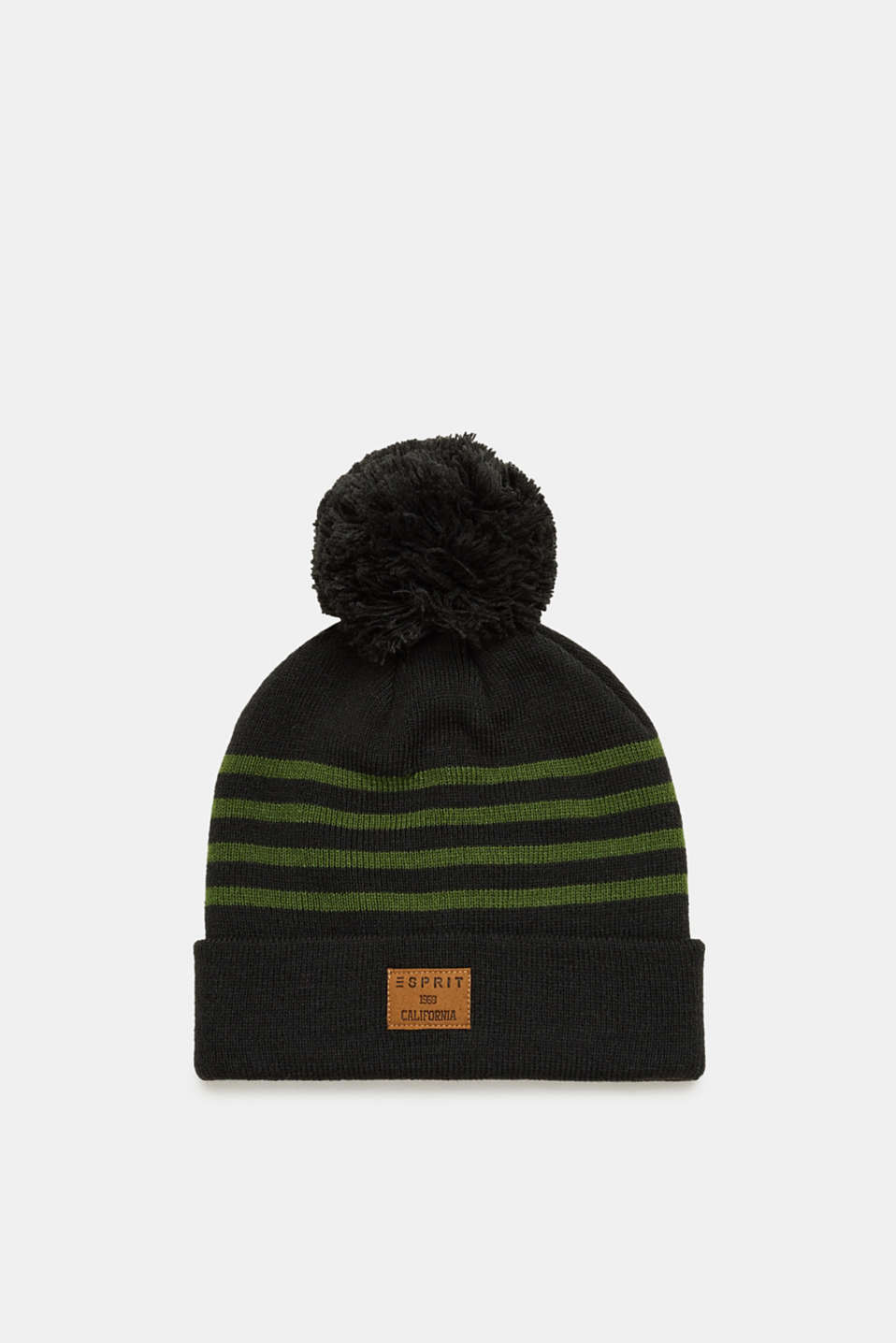 Esprit - Knitted beanie with stripes and a pompom
