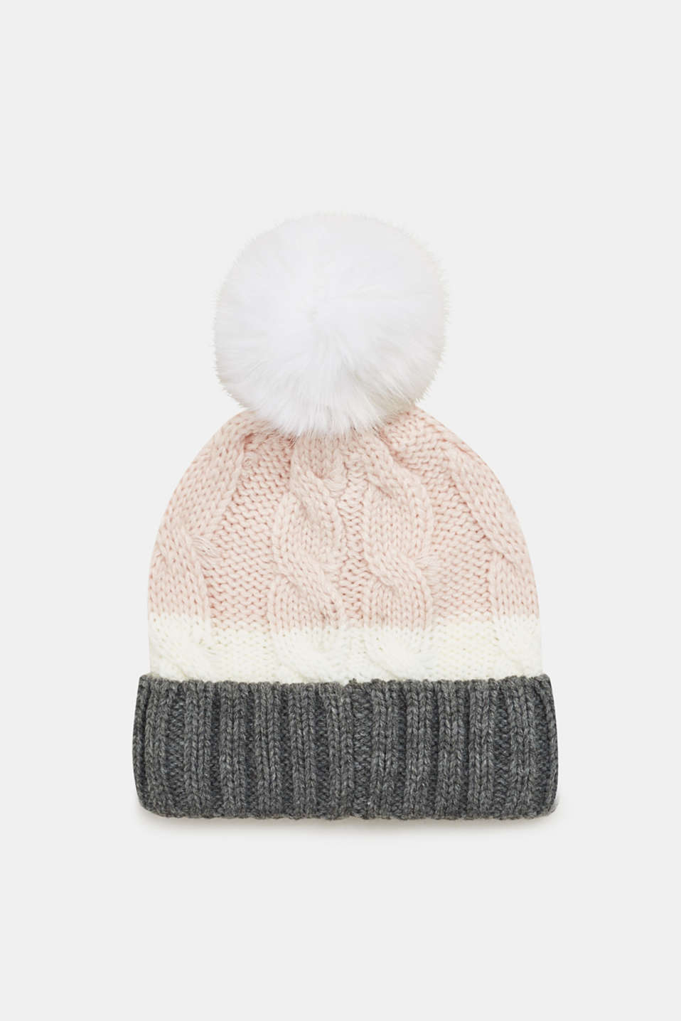Esprit - Hat with a cable pattern and pompom