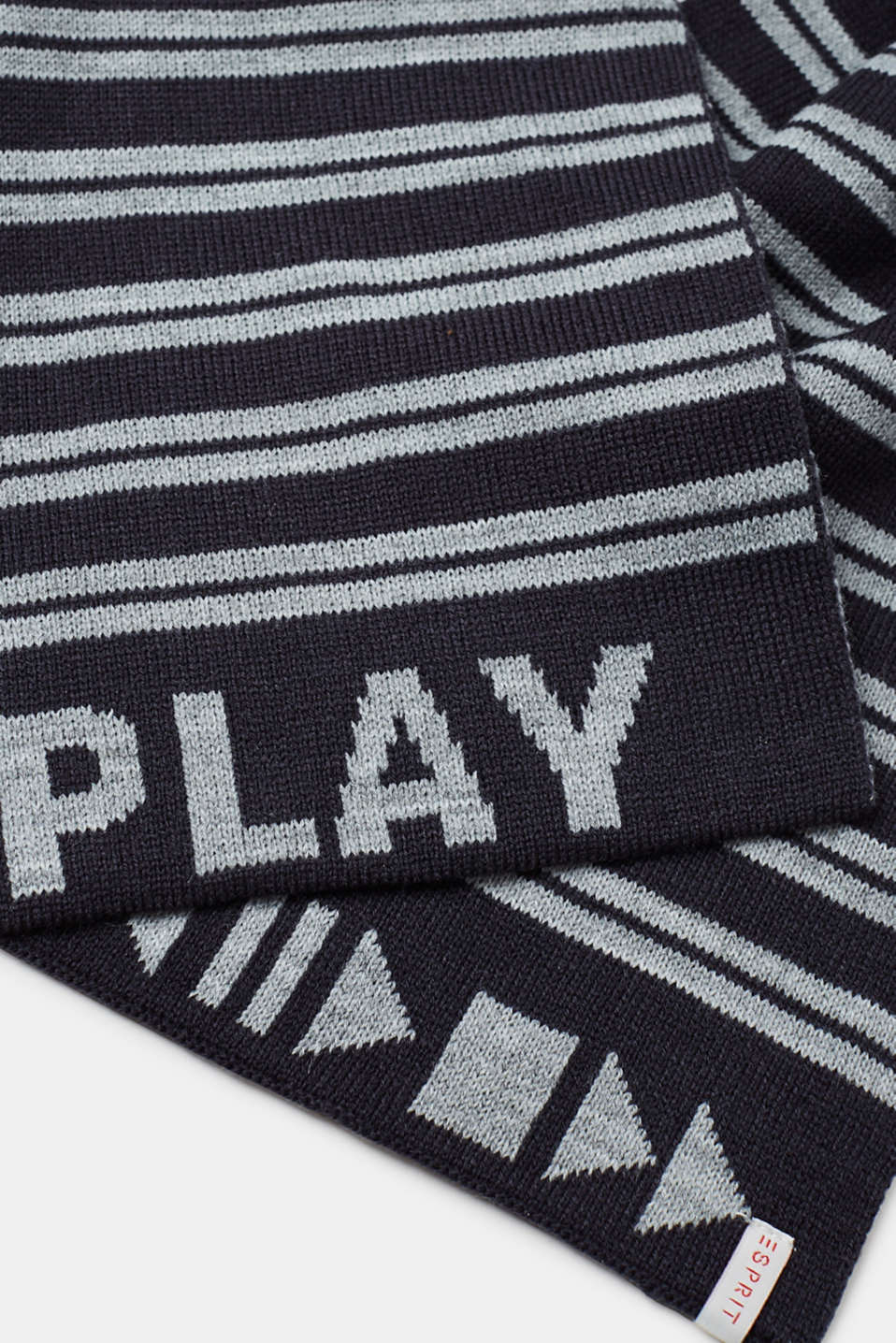 Double-faced knitted scarf with stripes