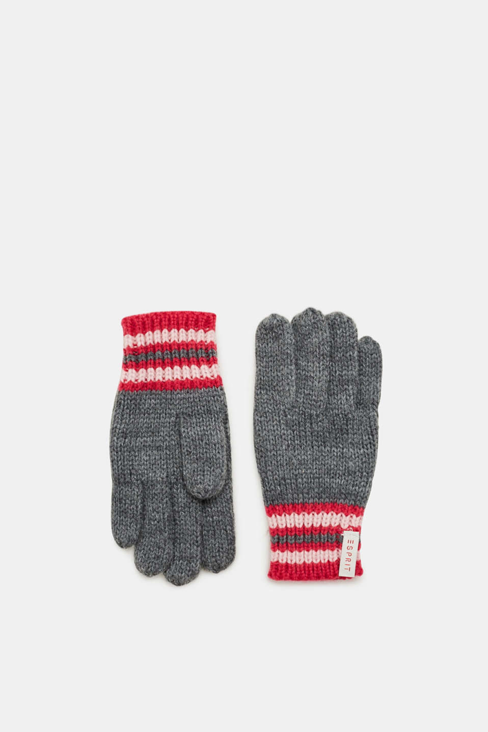 Esprit - Knitted gloves with stripes