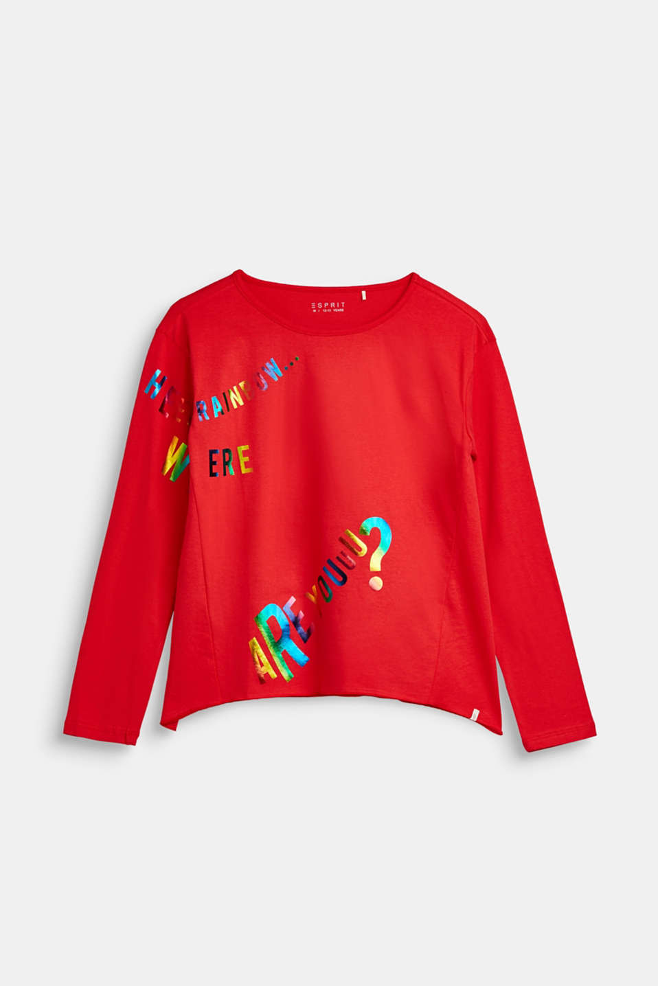 Esprit - Long sleeve top with a rainbow print, 100% cotton