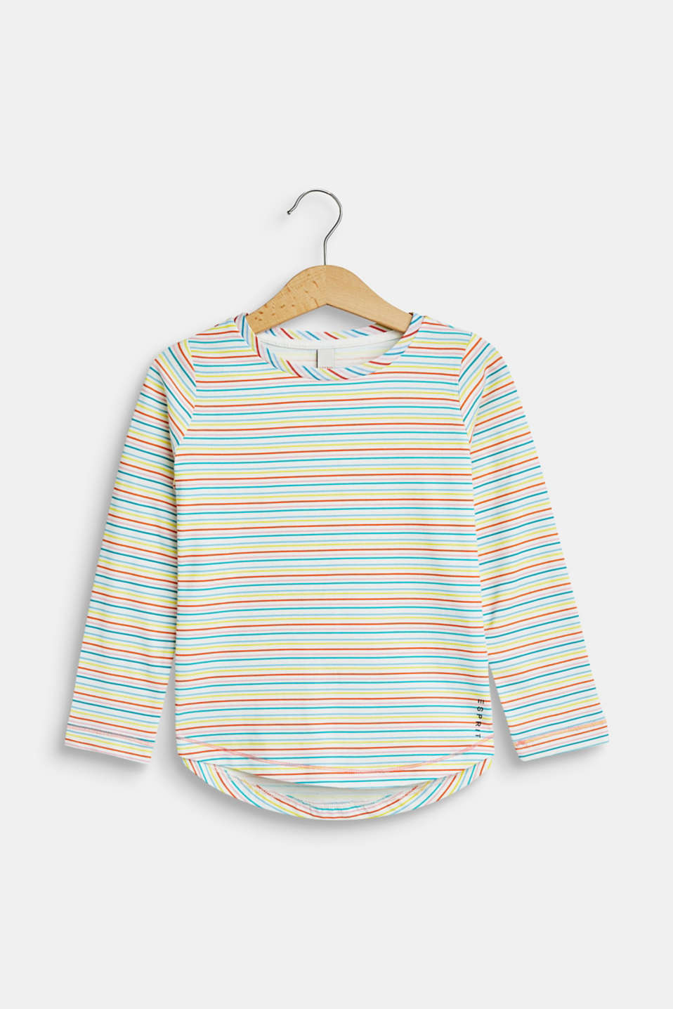 Esprit - Long sleeve top with colourful stripes, 100% cotton