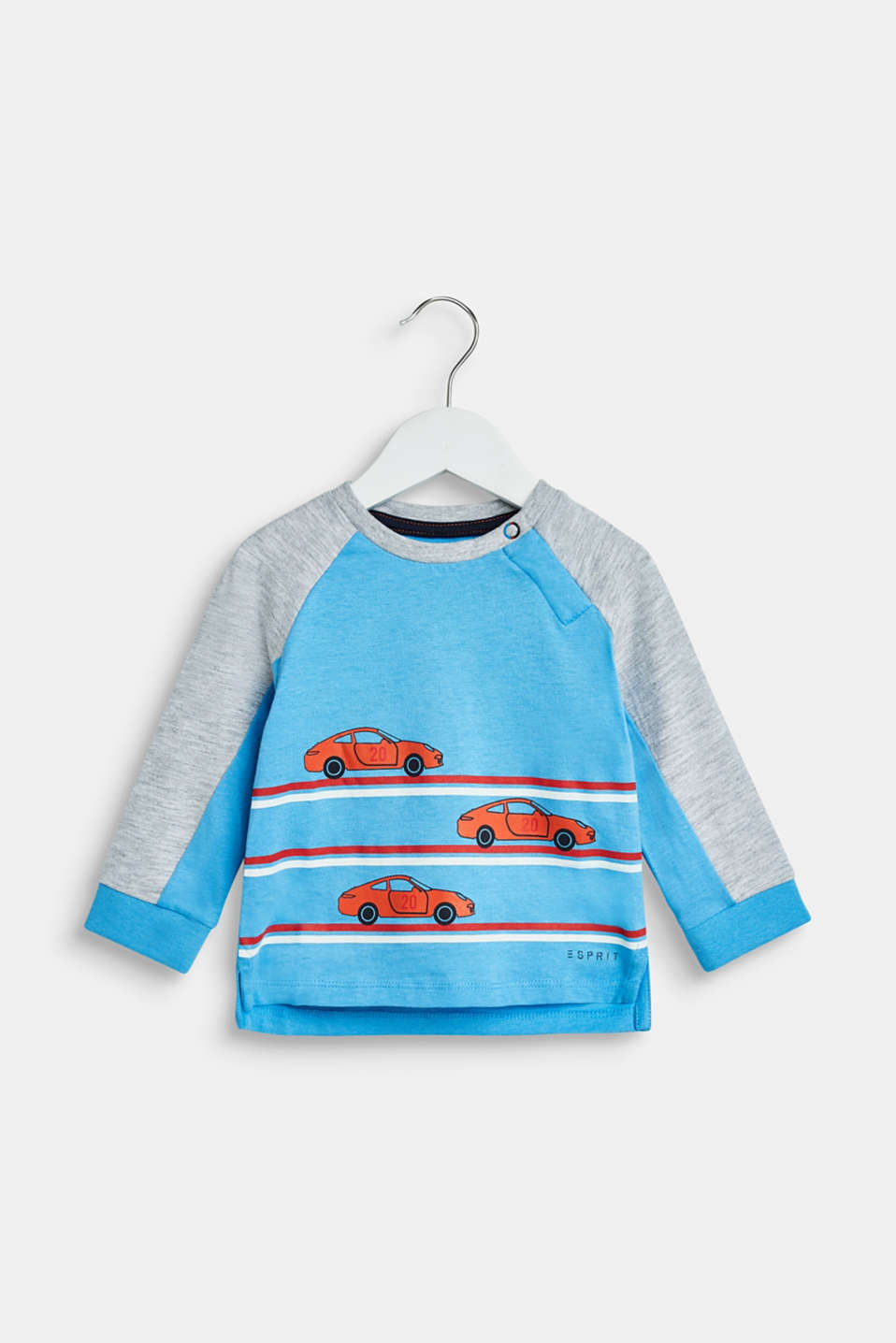 Esprit - Colour block long sleeve top with a car print