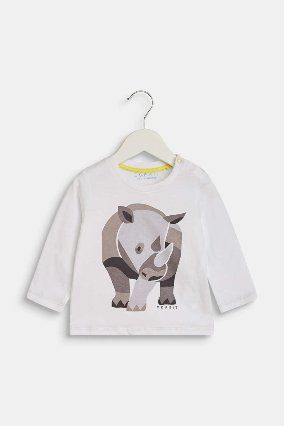 Esprit - Long sleeve top with a rhino print, 100% cotton