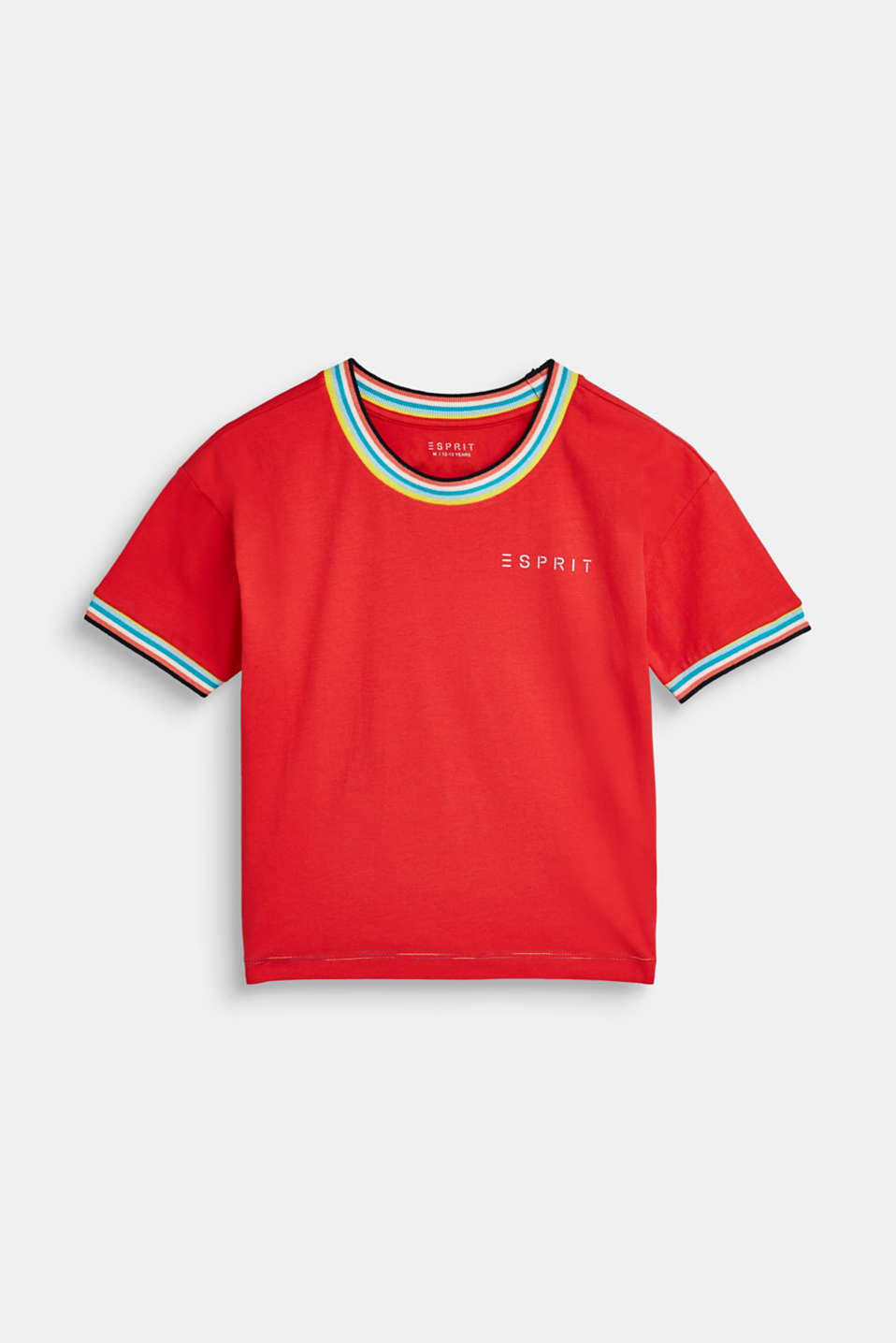 Esprit - T-shirt with colourful ribbed cuffs
