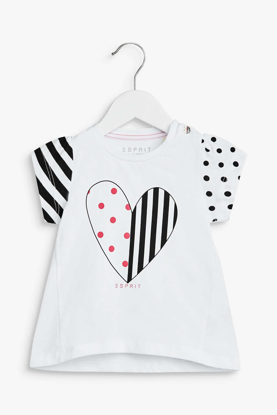 Esprit - T-shirt with a heart print, 100% cotton