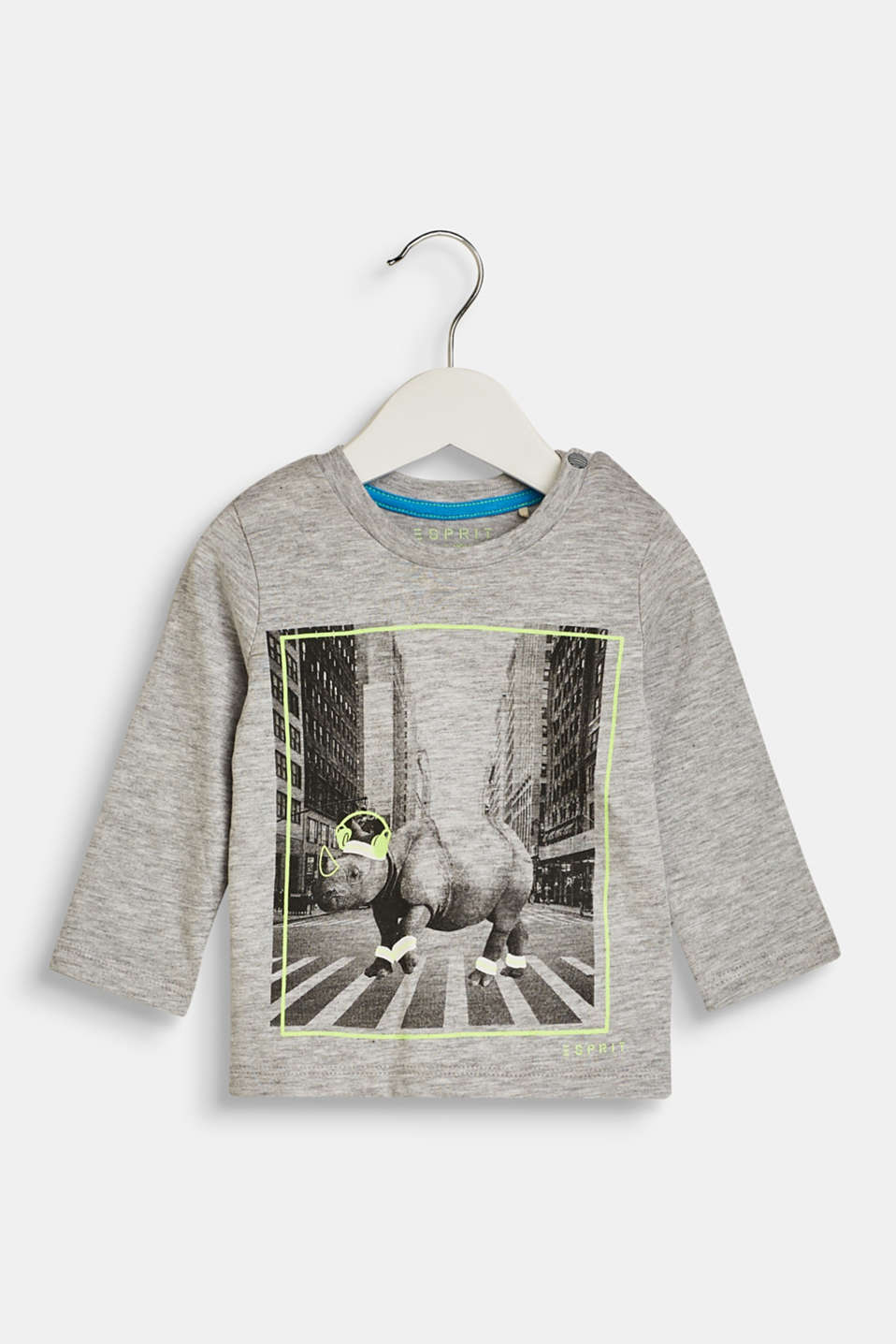 Esprit - Long sleeve top with a photo print, 100% cotton