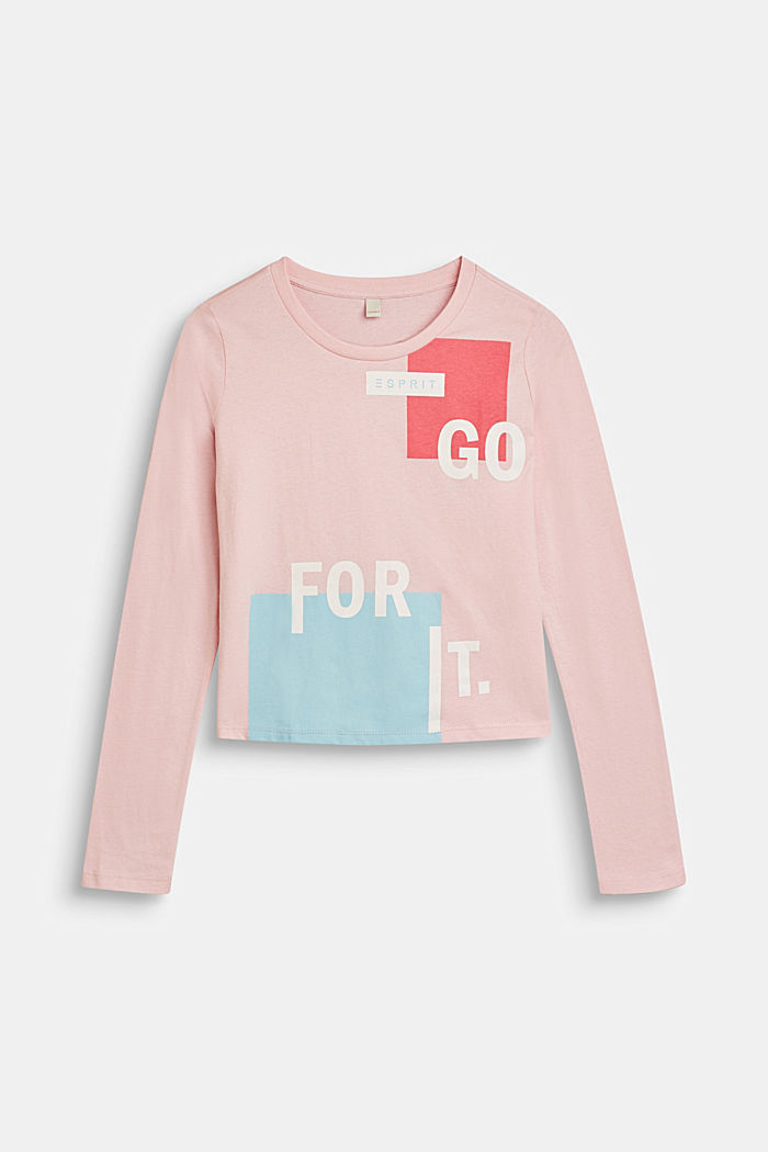Cropped Longsleeve mit Statement, 100% Baumwolle, LIGHT PINK, detail image number 0