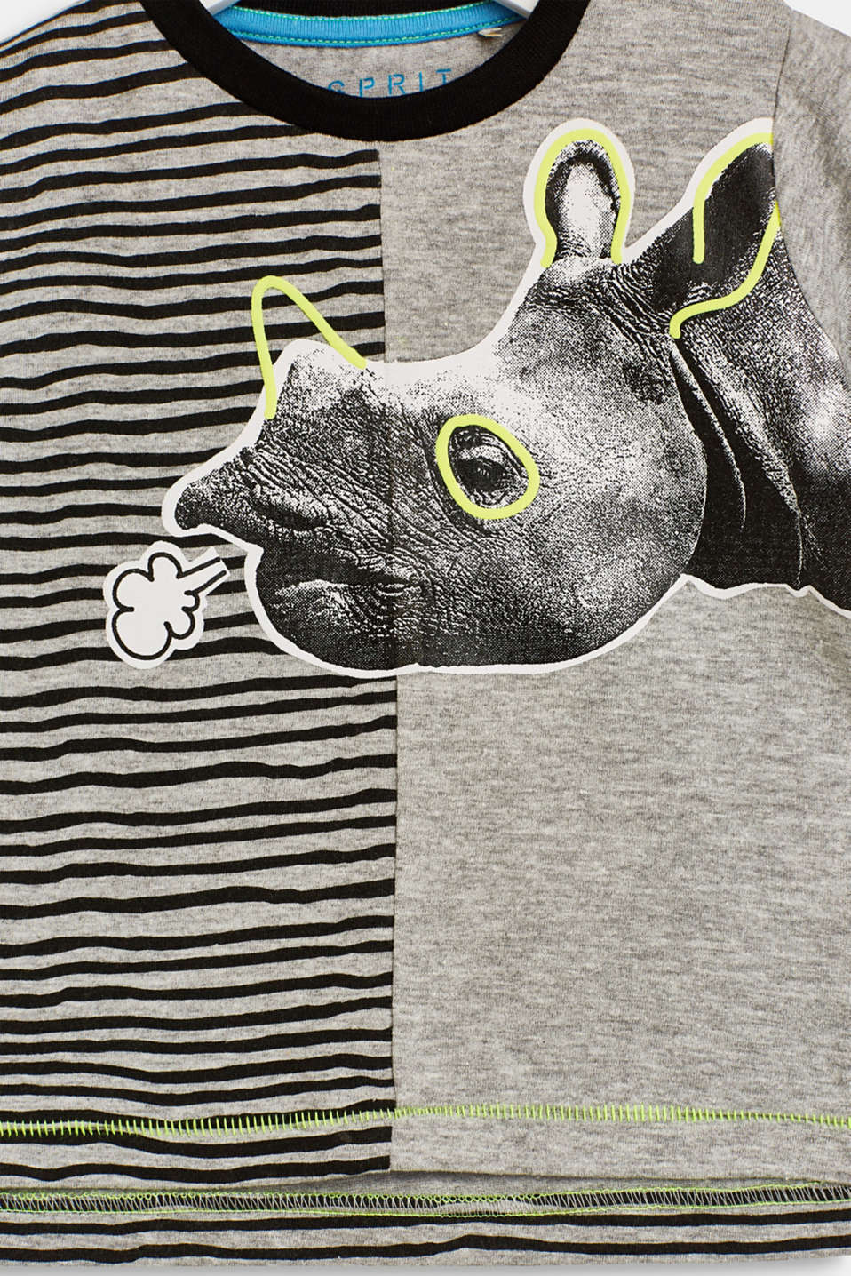 T-shirt with a rhino print on the front, LCHEATHER SILVER, detail image number 2