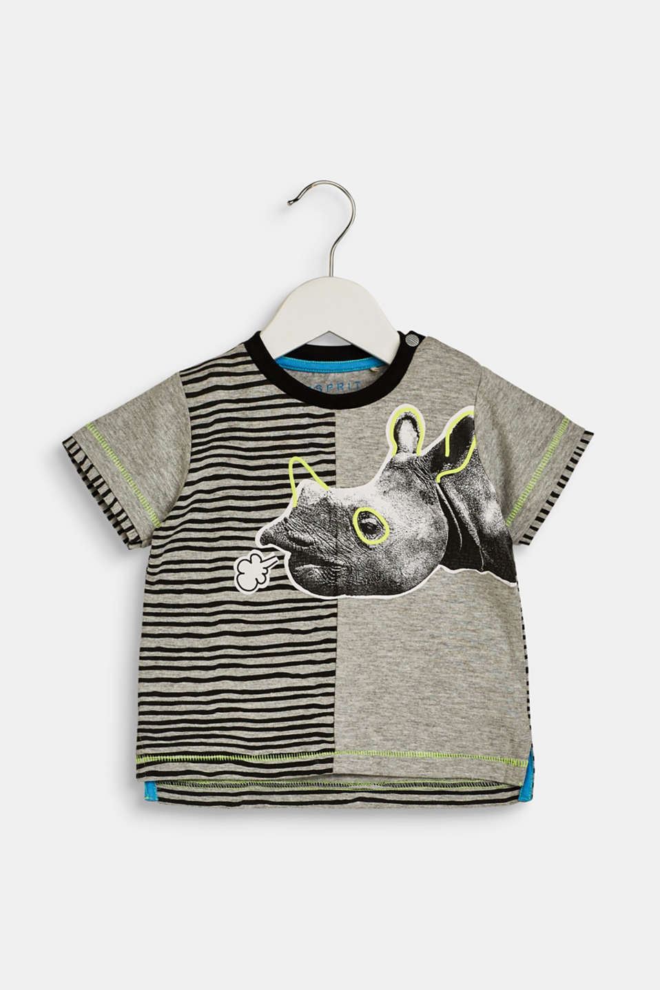 T-shirt with a rhino print on the front, LCHEATHER SILVER, detail image number 0