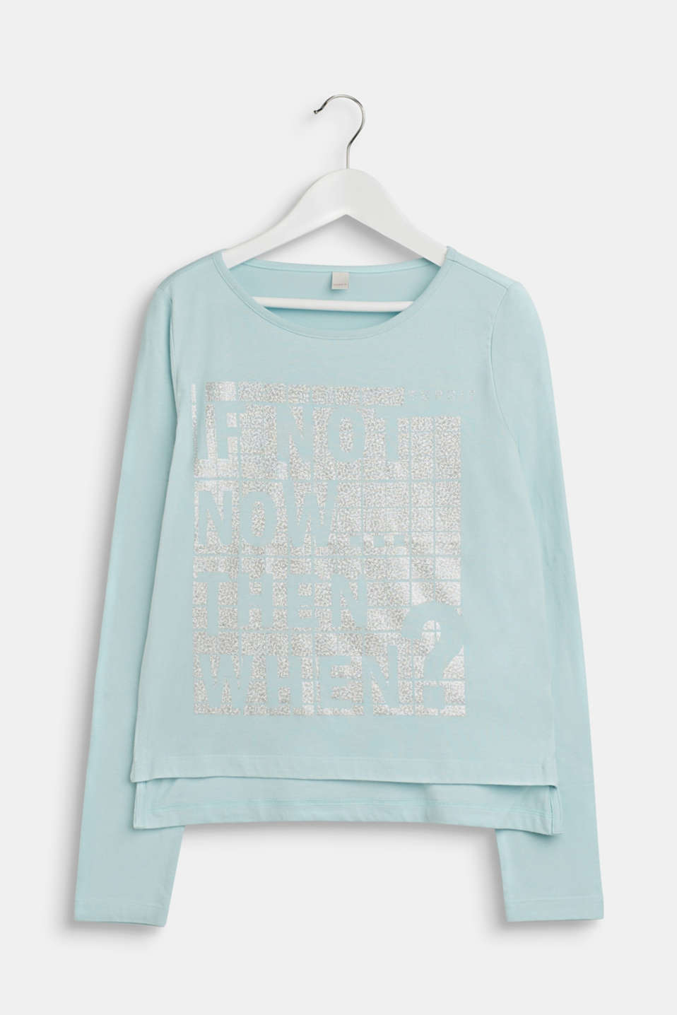 Esprit - Long sleeve top with a metallic print, 100% cotton