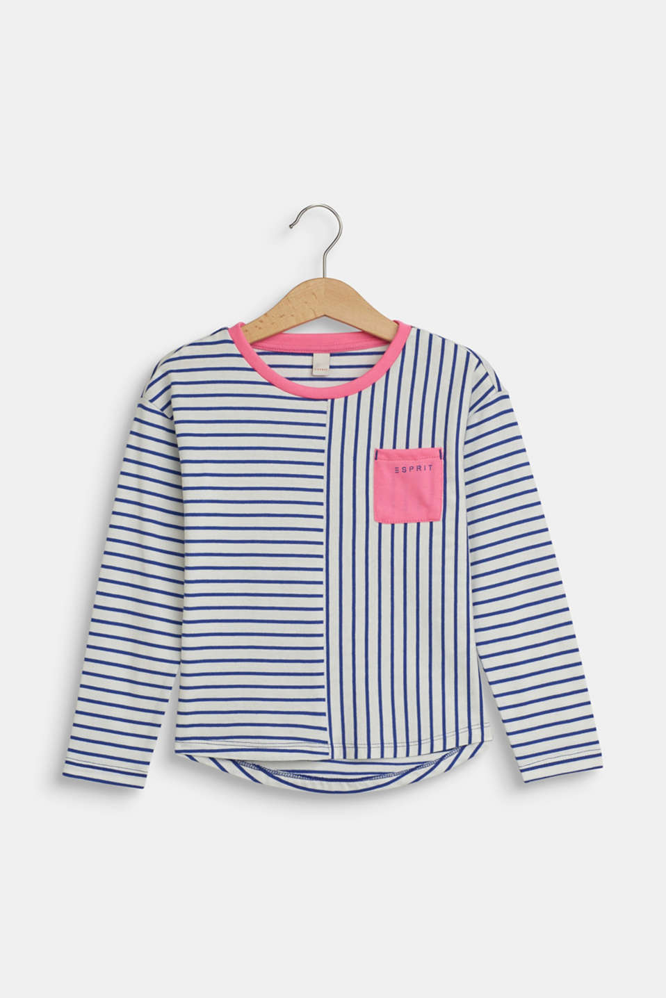 Esprit - Long sleeve top with colour accents, 100% cotton