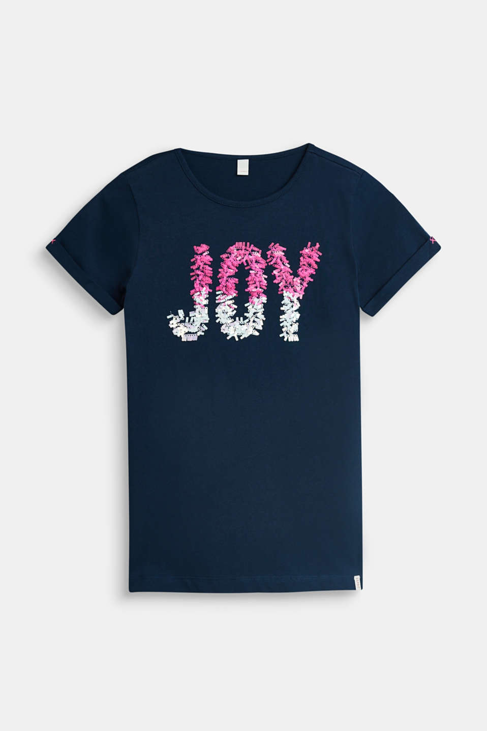 Esprit - T-shirt with sequins, 100% cotton