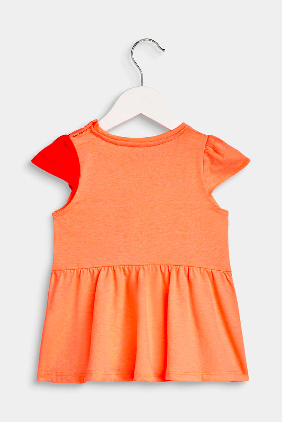 Print top with a pretty cut, NEON CORAL, detail image number 1