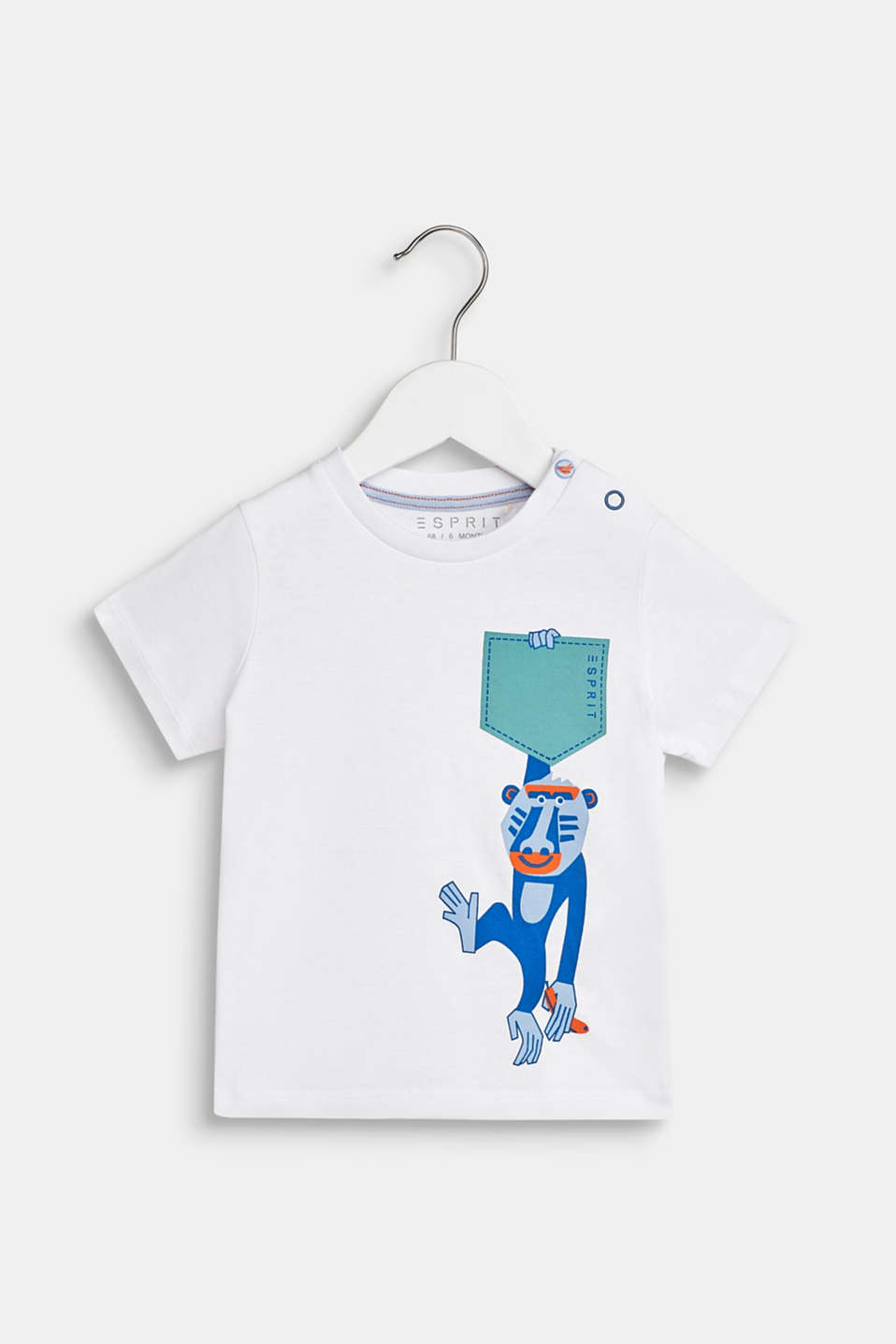100% cotton T-shirt with a monkey print, LCWHITE, detail image number 0