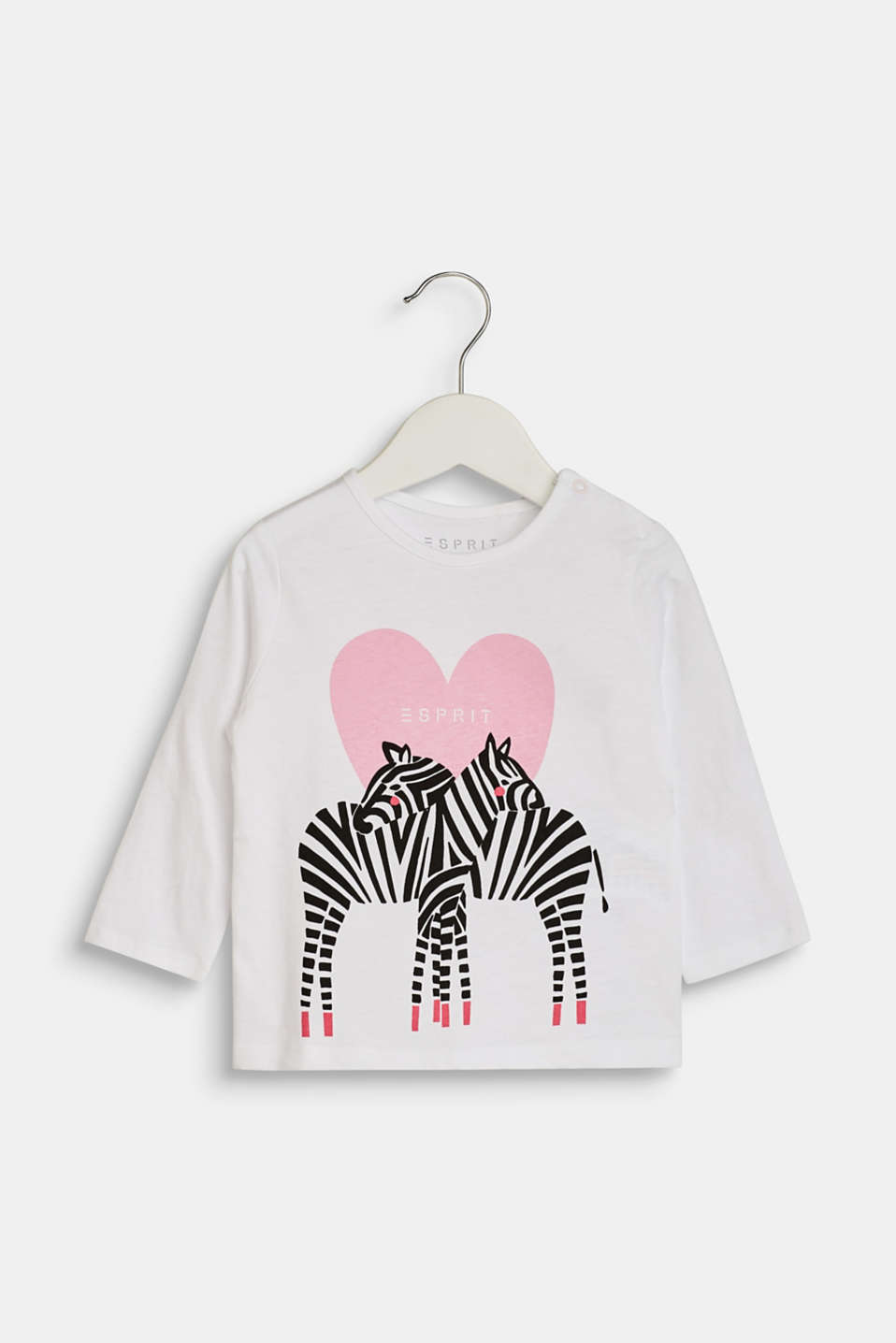 Esprit - Long sleeve top with a zebra print, 100% cotton