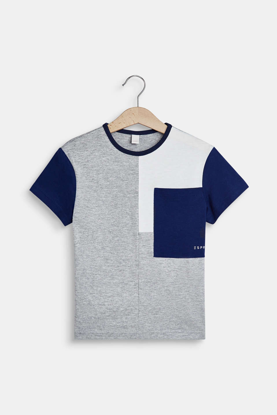 Esprit - T-shirt with colour blocking and pocket