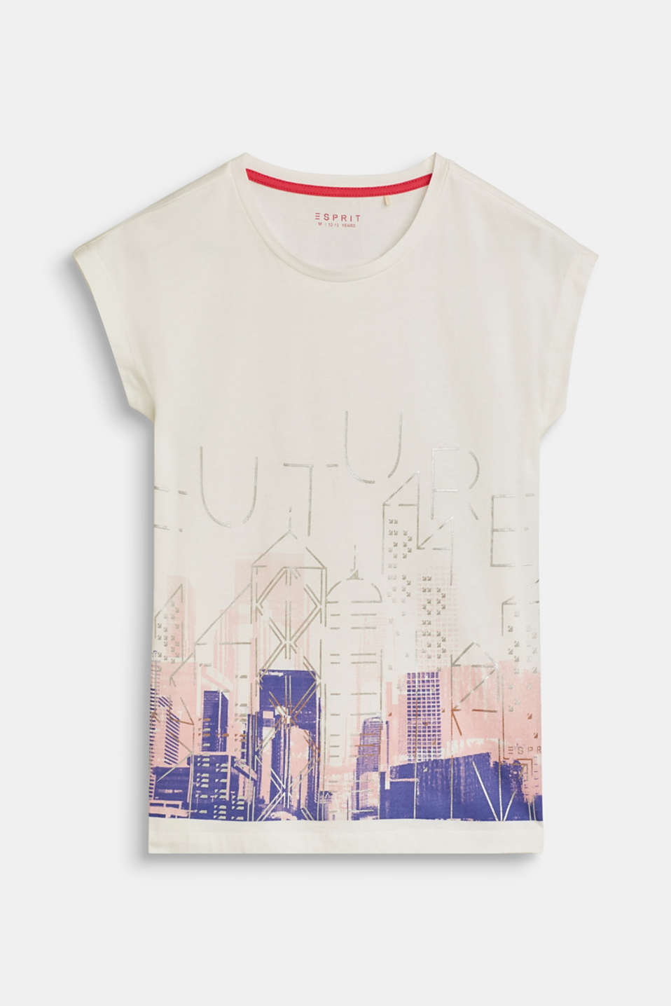 Esprit - T-shirt with a foil print, 100% cotton