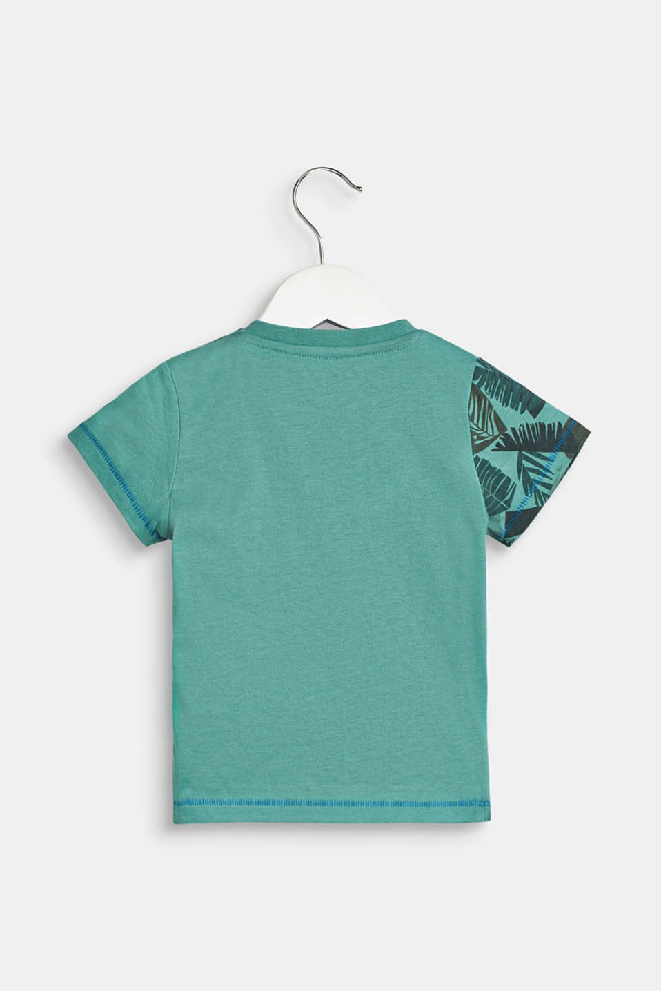 T-shirt with tropical prints, 100% cotton, LCSOFT GREEN, detail image number 1
