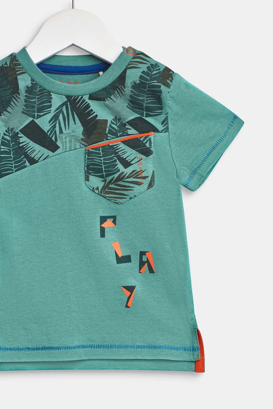 T-shirt with tropical prints, 100% cotton, LCSOFT GREEN, detail image number 2