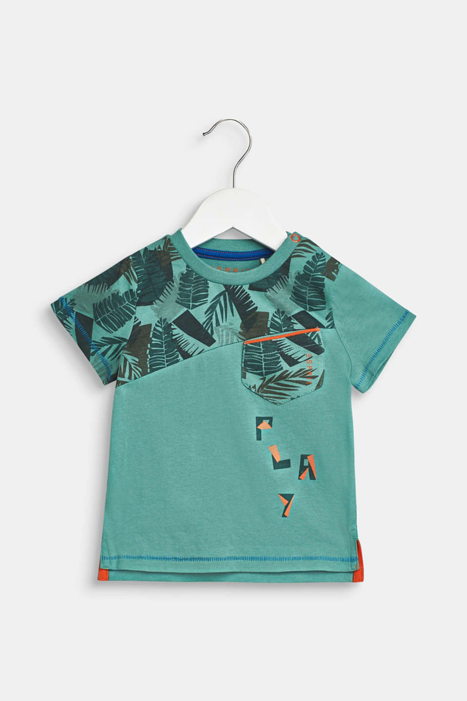T-shirt with tropical prints, 100% cotton, LCSOFT GREEN, detail image number 0