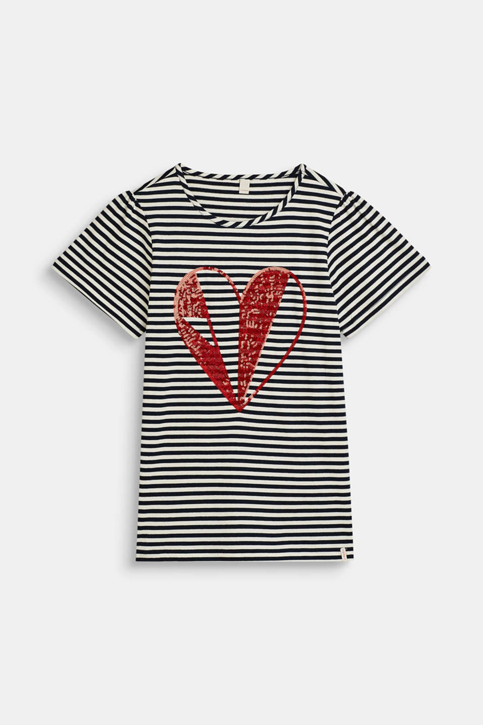 Esprit - Striped T-shirt with a sequinned heart