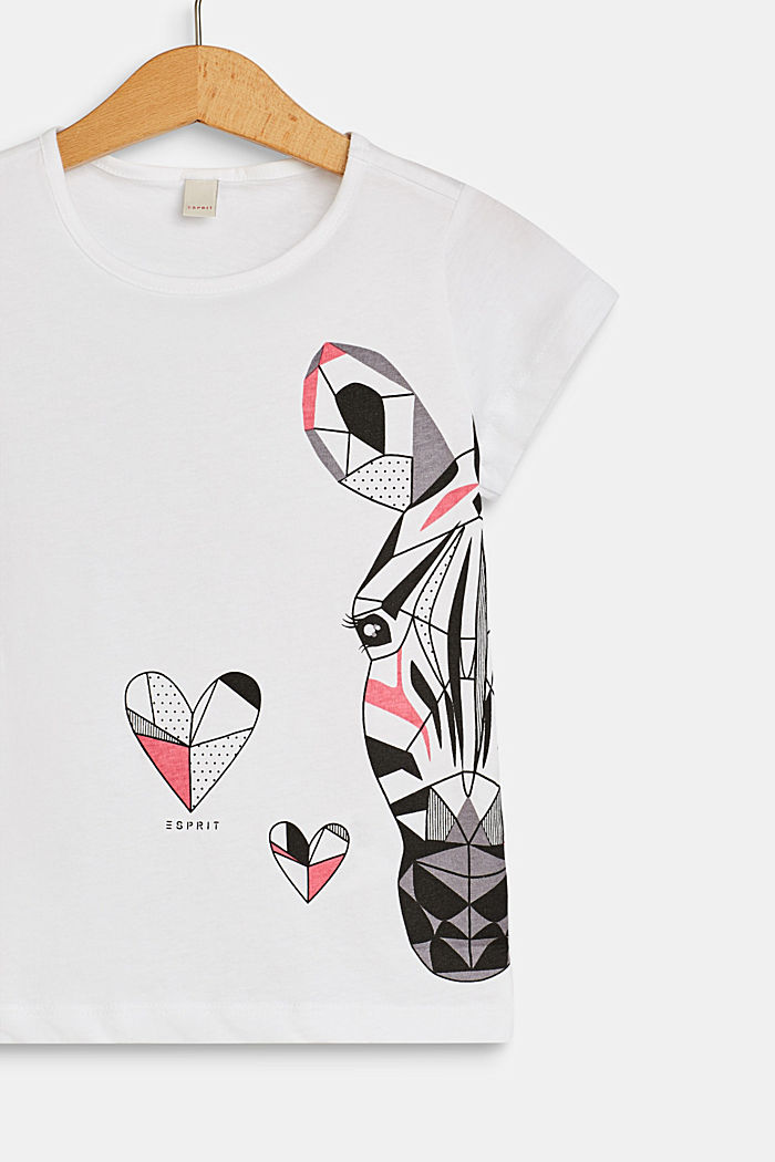 Camiseta con estampado de cebra, 100 % algodón, WHITE, detail image number 2