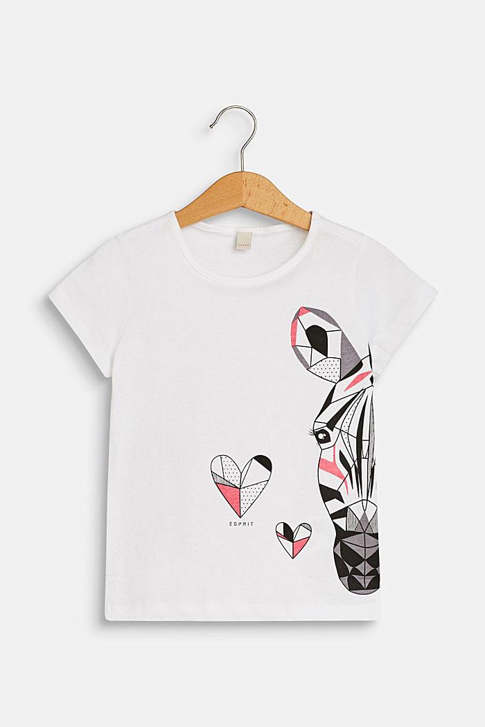 Camiseta con estampado de cebra, 100 % algodón, WHITE, detail image number 0